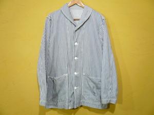 チェンジボタンショールカラーヒッコリーカバーオール/囚人服OLD