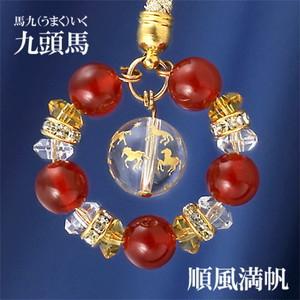 九頭馬水晶・赤めのうストラップ(上手く行くカード付き)