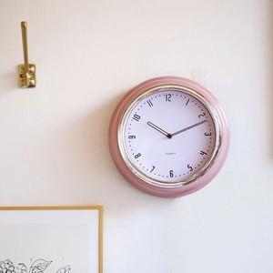 retoro metal pink wall clock / レトロ 壁掛け時計 置き時計 韓国雑貨