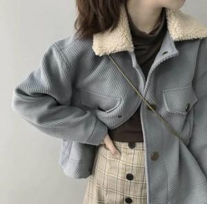 全3色♡ 襟ボア付きコーデュロイジャケット♡