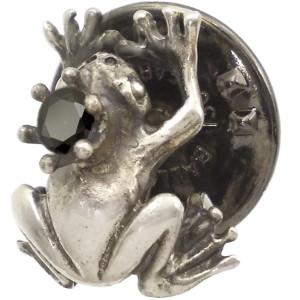 ブラックCZ カエルの王子様 シルバー ピンバッジ  ピンズ△キュービックジルコニア使用*BK-0442