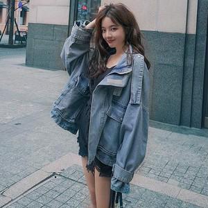 【アウター】デニム大人気韓国スタンドネック個性的長袖ジャケット43516143