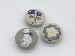 帯留め 【ミシン刺繍 ボタン】