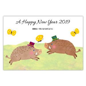 セブンオレンジ 2019亥年賀状《いのしし跳ねる》(写真用(光沢)年賀葉書印刷タイプ)