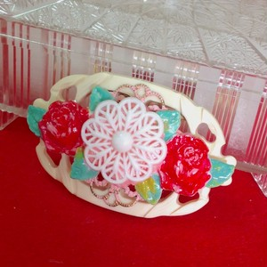 s098 ハンドペイント薔薇の帯飾り(ブローチ)