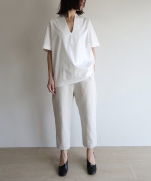 Cotton linen twill relaxed pants