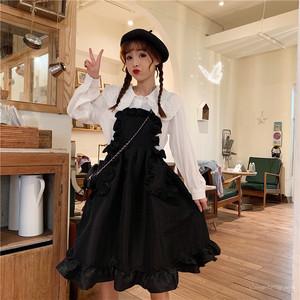 【セットアップ】韓国系レースピコットシャツ+スウィート学園風ノースリーブドレス二点セット