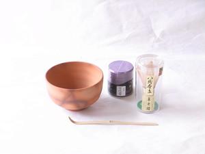 信楽焼 火襷(ひだすき)抹茶碗・茶筅・抹茶・茶杓 お手軽 初歩でも 最強セット