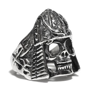 Vintage Sterling Silver Mexican Viking Skull Ring