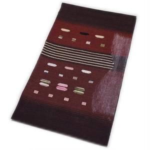 なごや帯 正絹 仕立て上がり 八寸 名古屋帯 紬すくい織 手織袋名古屋帯(ブラウン系) [001017h]
