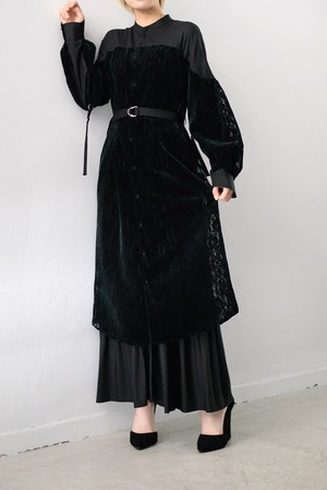 LOKITHO /  FLOCKY LACE LAYERED SHIRT DRESS (B品)