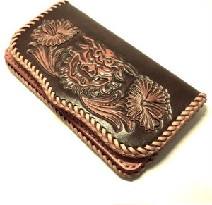 """Figure&Flower Carving Leather Longwallet okinawa""【Eighteen Leather(エイティーン・レザー)】"