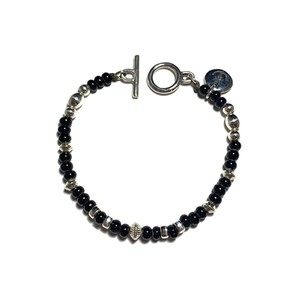 STEADY HIGH/ステディハイ White heart beads bracelet/Black