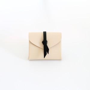 折りショートウォレット#ベージュ×黒 / ori short wallet #beige×black