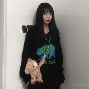 【トップス】韓国系カジュアルレトロ長袖プリントTシャツ