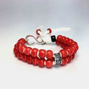 LEATHER BRACELET WHITE HEART BEADS [RED] / レザーブレスレット ホワイトハート・レッド