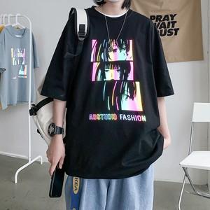 【トップス】半袖反射ストリート系カジュアルプリント男女兼用アニメTシャツ46315749