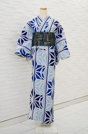 撫松庵ゆかた 麻の葉縞 ブルー 仕立て上がり ポリエステル100% 5営業日以内発送