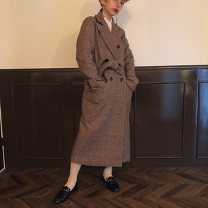 【brown再販】check long coat