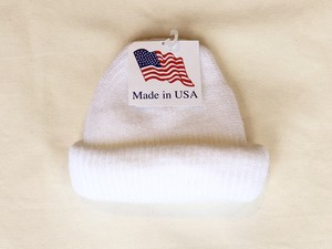 KNIT CAP MADE IN USA - WHITE