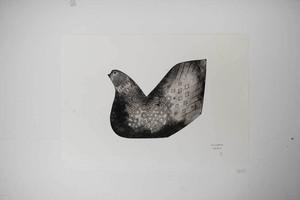 オオヤマネコ作品/版画『鳥のおわり』