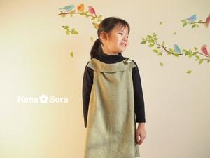 上品えりの女の子の子供服。USAコットンのAラインワンピース(フランネル・千鳥格子・グリーン)