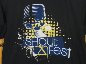 USA古着プリントTシャツM黒shout fest片面50/50美品