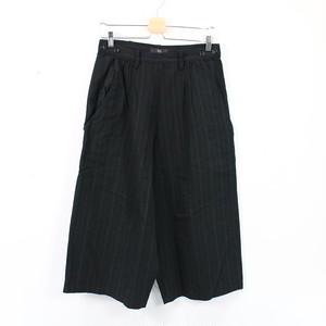 【美品】Y's / ワイズ   2021SS   C/STRIPE W BUTTON BIG PANTS ストライプワイドパンツ   2   ブラック   レディース