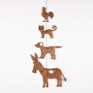 ブレーメンの音楽隊のガーランド(木の壁飾り)