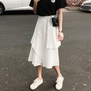 【ボトムス】ファッション無地学園風春夏ギャザー飾り不規則七分丈カジュアルパンツ
