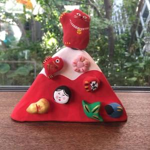 吉備コマ作 赤富士招き猫