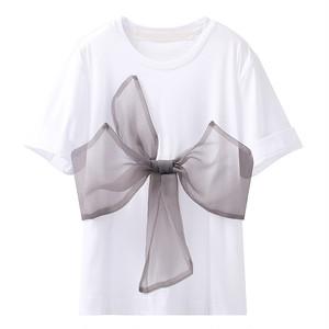 feminine リボンデザインTシャツ c3718