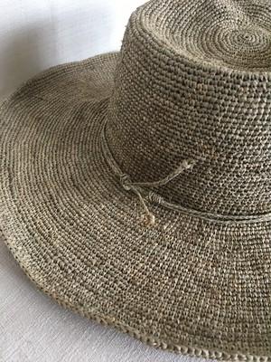 ラフィアかぎ編み帽子 草木染め
