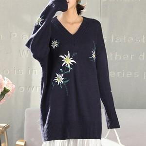 【tops】ニットセーター刺繍ゆったり着心地良いレディーストップス