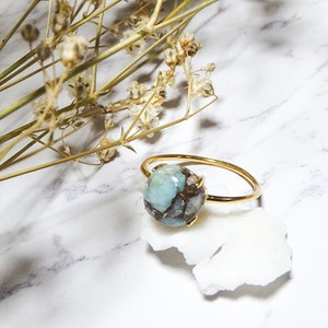 Blue Copper Amazonite Gold Ring