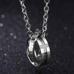 ゴスロリ系 ファッションジルコン カップル ステンレス鋼 文字ネックレス用 ユニセックス ダブルクリスタル ウェディングジェムペンダント チェーン付き