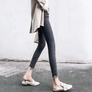 【bottoms】不規則な裾デニム伸縮性いい着やせスキニーパンツ 23685940