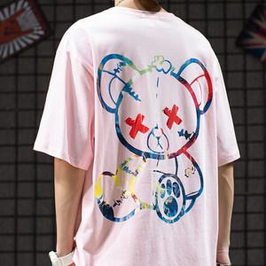 【トップス】ストリート系萌え萌えクマ図柄キュートペアルック半袖Tシャツ32845642