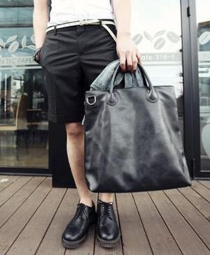 送料無料【大容量 2way ビジネスバッグ】合皮 レザー 革 革製/ メンズ PC タブレット 仕事 ビジネス