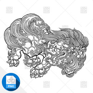 【png画像素材】唐獅子4 Mサイズ  横1500px × 縦1134px