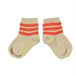 【piupiuchick】Socks • [baby, kid & teen] sand w/orange stripes (SS21.AC2101A)