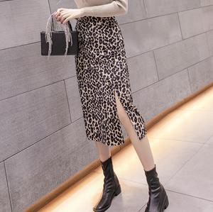 Middle length leopard print skirt LD0275