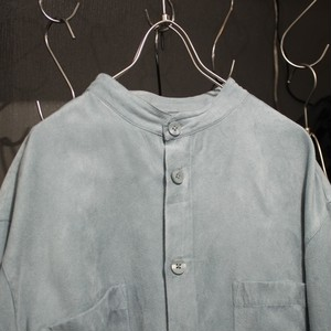 Fake Suede Band collar Shirt