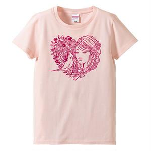 オカメインコと少女Tシャツ/ピンク
