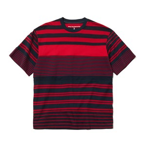 CONTRASTED STRIPE T-SHIRT -NAVY