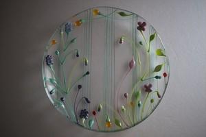 松下高文|見上げる景色 ガラス皿径190 透明緑草花ライン