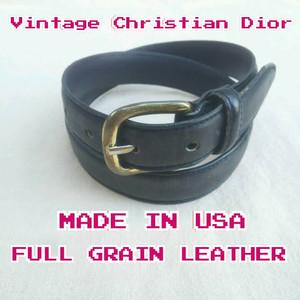 【USA製】CD/クリスチャンディオールChristian Dior/ビンテージ/ヴィンテージ/フルグレインレザー×真鍮/ベルト/黒/80/32/