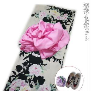 浴衣4点セット レトロモダン 高級綿紅梅織浴衣(花柄)日本製生地 衿芯付 [060405setb]