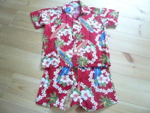 HAWAII製 アロハシャツ&パンツ セットアップ 赤 サーフボード柄