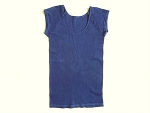 ◆100%自然素材 天然灰汁発酵建て 藍染◆ オーガニックコットン100 フレンチ袖トップス